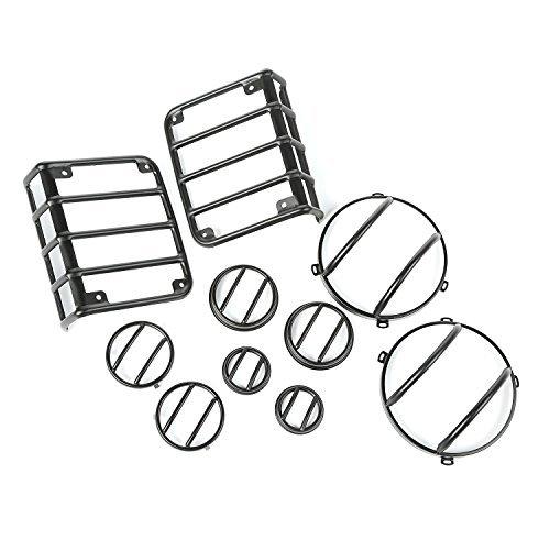 10 Piece Euro Guard Light Kit, Black; 07-16 Jeep Wrangler JK