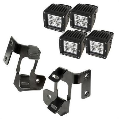 A-Pillar Light Mount Kit, Semi-Gloss Black, Square LED; 07-16 Wrangler