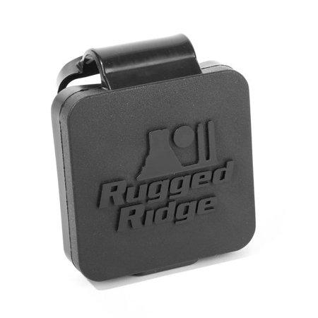 2 Inch Receiver Hitch Plug, Black, Rugged Ridge Logo