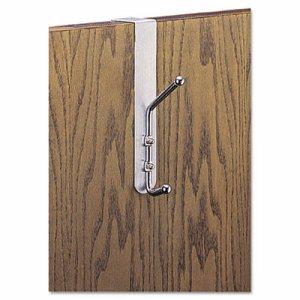Over-The-Door Double Coat Hook, Chrome-Plated Steel, Satin Aluminum Base