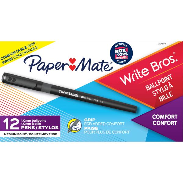 Write Bros. Grip Ballpoint Pen, Medium, 1 mm, Black Ink/Barrel, Dozen