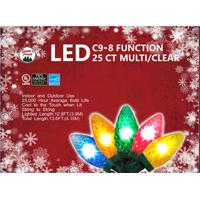 LIGHT LED C9 8 FUNC MULTI 25CT