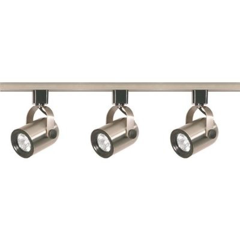 "NUVO� 3-LIGHT MR16 ROUND BACK TRACK LIGHTING FIXTURE, BRUSHED NICKEL, 48 X 3.75"", USES 3 50-WATT GU10 BASE LAMPS"