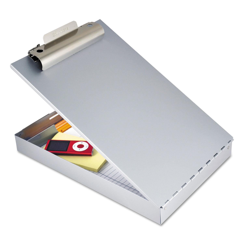 """Redi-Rite Aluminum Storage Clipboard, 1"""" Clip Cap, 8 1/2 x 12 Sheets, Silver"""