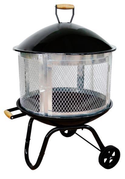 Homebasix KY181 Outdoor Firepit, Powder Coated Steel Frame W/Galvanized Door 28In