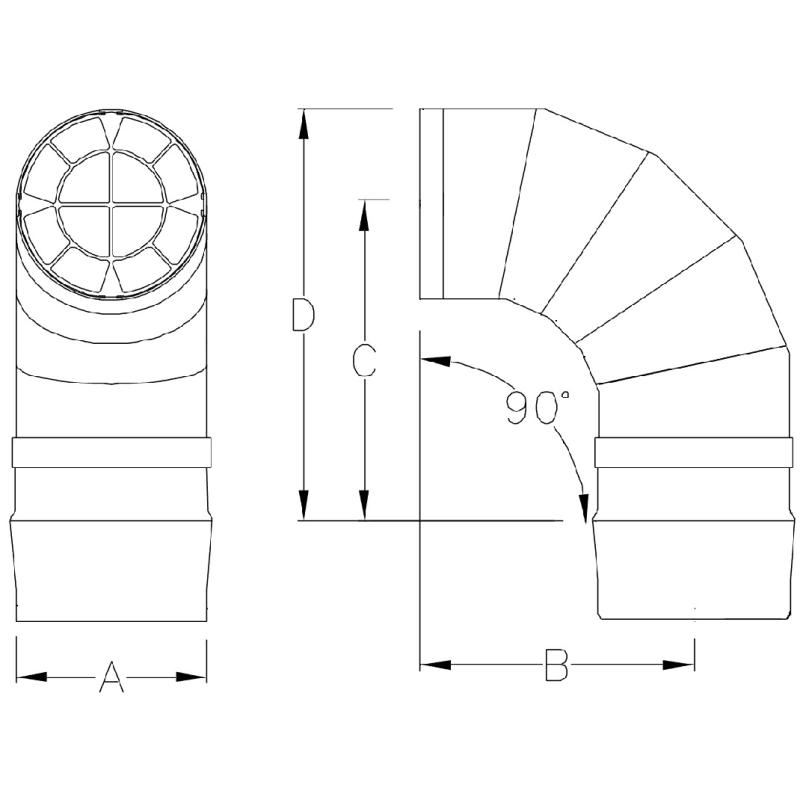 """6"""" Saf-T Vent Seal 90-Degree Al29-4C Screen Elbow Termination - 9614TERM"""