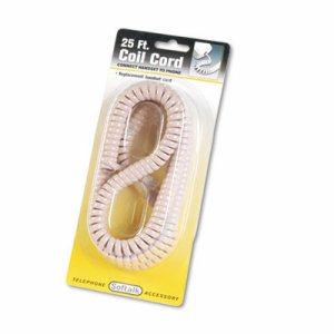 Coiled Phone Cord, Plug/Plug, 25 ft., Beige