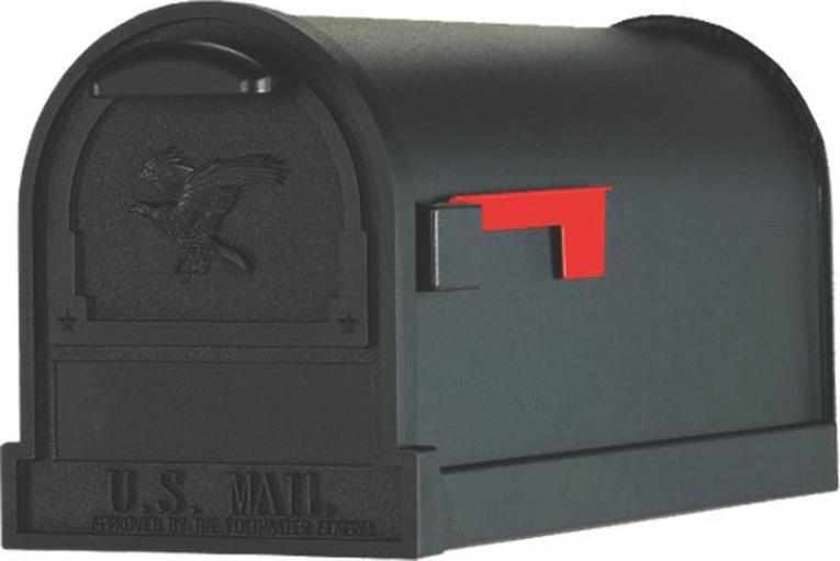 Gibraltar AR15B000 Medium Premium GRADE Rural Mail Box, 9-1/2 in W x 23 in D x 11 in H, Black