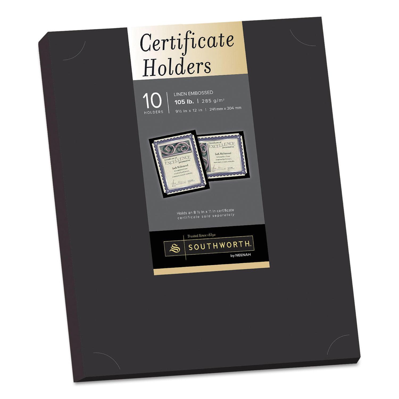 Certificate Holder, Black, 105lb Linen Stock, 12 x 9 1/2, 10/Pack