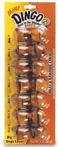 United Pet 23830 Dingo Dog Bones, Mini - Beef, 2-1/2 In