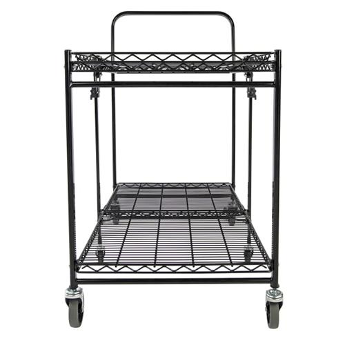 Stowaway Folding Carts, 2 Shelves, 35w x 37.25d x 22h, Black, 250 lb Capacity