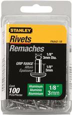 STANLEY� ALUMINUM RIVETS 1/8 IN. X 1/8 IN., 100 PACK