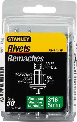"""STANLEY� ALUMINUM RIVETS 3/16"""" X 5/8"""", 50 PACK"""