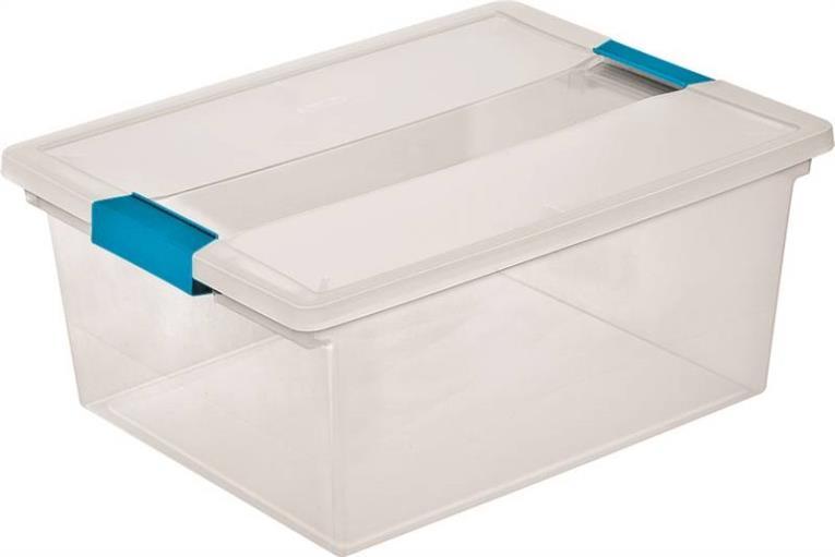 Sterilite 1965 Deep Clip Box With Blue Aquarium Latches, 11.5 qt, Plastic, Clear