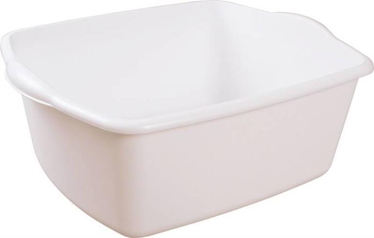 Sterilite 6588012 Dish Pan, 18 qt Capacity, 14-1/4 in W x 17-1/2 in L x 7 in H, Plastic, White