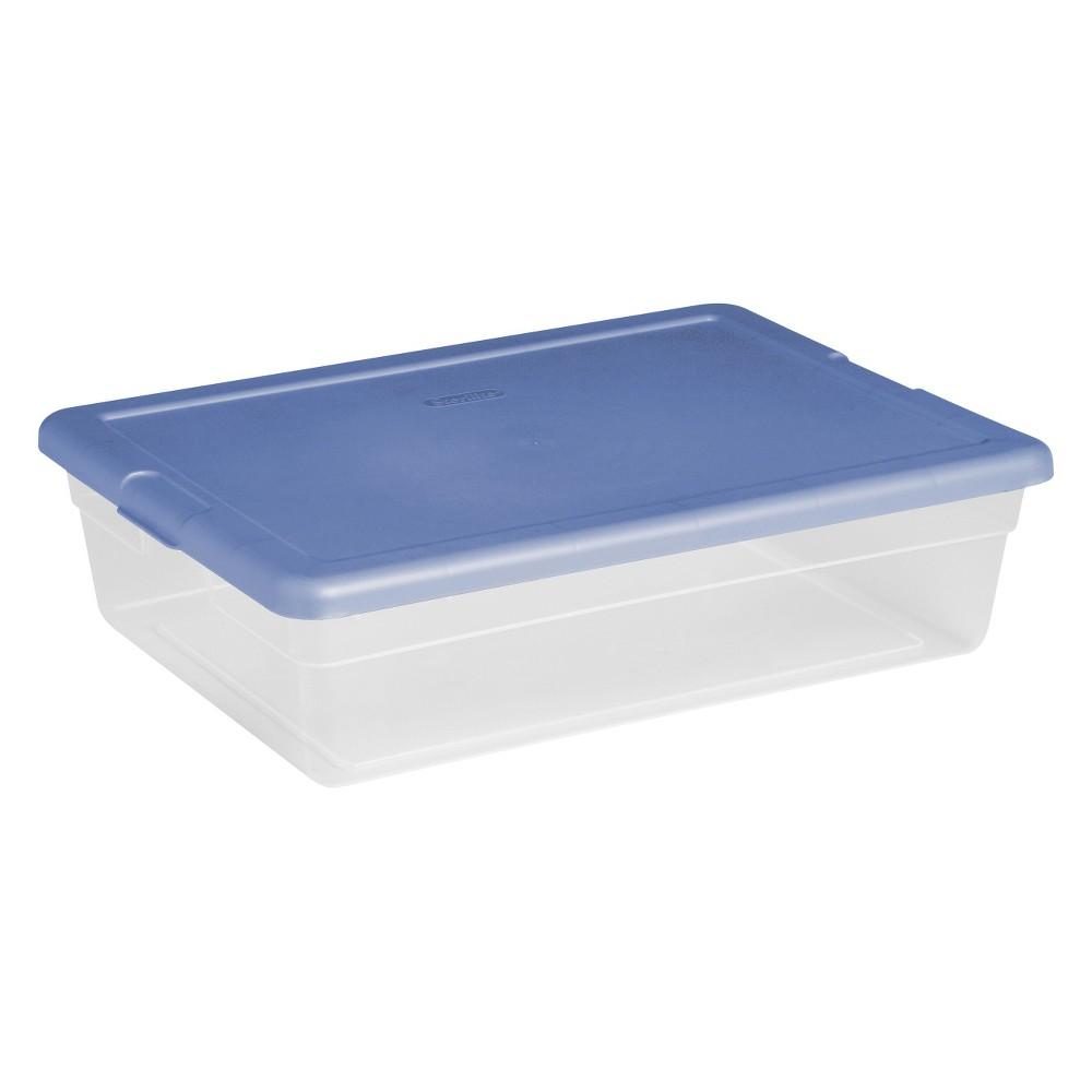 Sterilite 16558010 Basic Storage Box With Snap-Lock Lid, 28 qt, 23 in L x 16-1/4 in W x 6 in H, Plastic