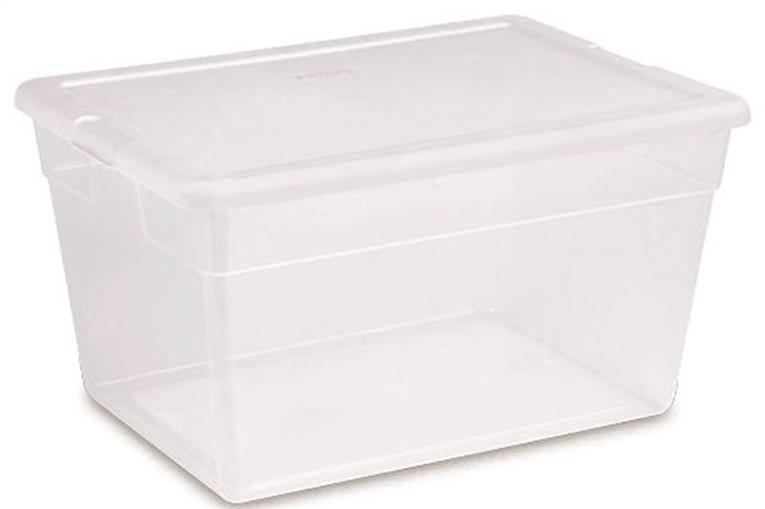 Sterilite 16598008 Basic Storage Box With Snap-Lock Lid, 56 qt, 23 in L x 16-1/4 in W x 12-3/8 in H
