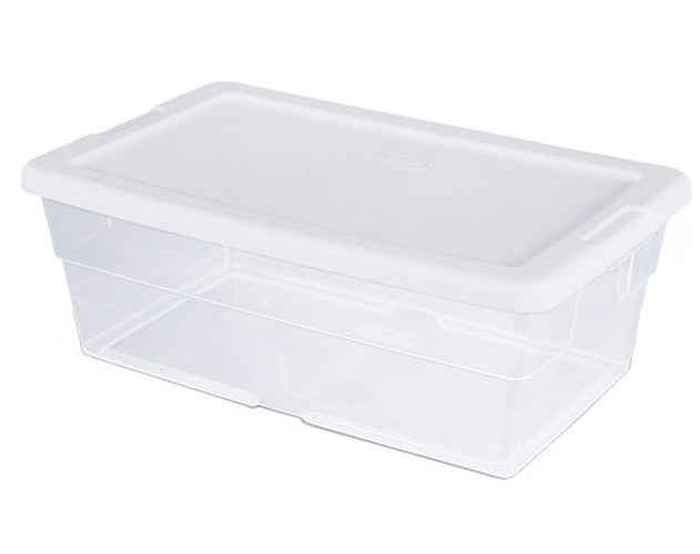 Sterilite 16428012 Basic Storage Box With Snap-Lock Lid, 6 qt, 13-5/8 in L x 8-1/4 in W x 4-7/8 in H