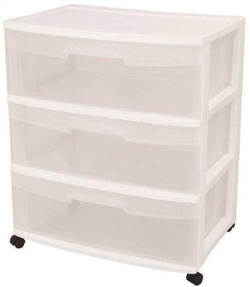 Sterilite 29308001 Wide Storage Cart, 21-3/4 in W x 15-1/4 in L, White