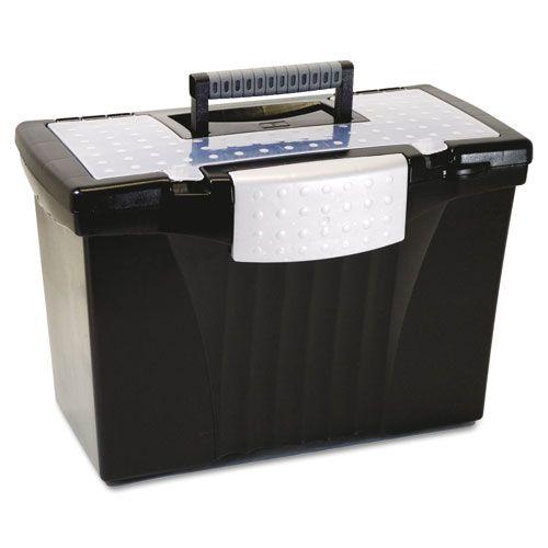 Portable File Storage Box w/Organizer Lid, Letter/Legal, Black