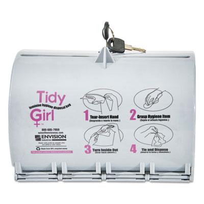 Tidy Girl Plastic Feminine Hygiene Disposal Bag Dispenser, Gray