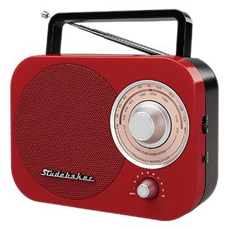 STUDEBAKER SB2000RB RED AND BLACK AM/FM PORTABLE RETRO RADIO.