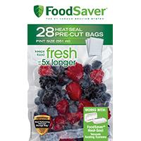 FoodSaver FSFSBF0116-P00 BPA-Free Pre-Cut Heat-Seal Bag, 9 in L x 6 in D, Multi-Ply