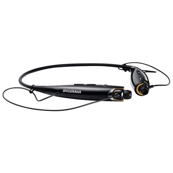 SYLVANIA SBT129-BLACK Bluetooth Sport Headphones with Microphone (Black)