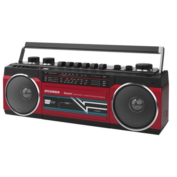 SYLVANIA SRC232BT-RED Bluetooth Retro Cassette Boombox with FM Radio (Red)