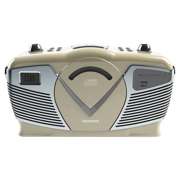 SYLVANIA SRCD212-CREAM Retro-Style Portable CD Radio Boom Box (Creme)