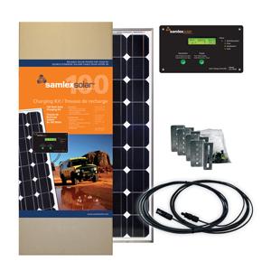 SAMLEX - 100 WATT SOLAR CHARGING KIT WITH 30 AMP CONTROLLER, FLAT SURFACE ALUMINUM MOUNTING BRACKETS, WIRING & HARDWARE
