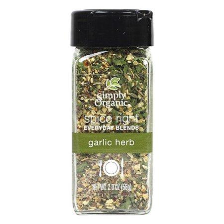 Simply Organic Organic Spice Right Everyday Blends, Garlic Herb (6X2 OZ)