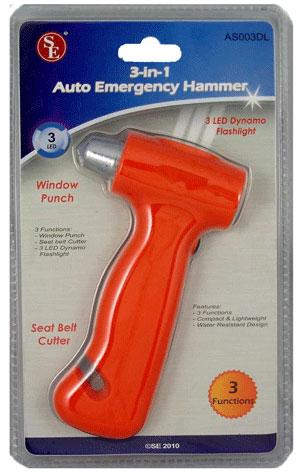 3-IN-1 AUTO EMERGENCY HAMMER WITH SEAT BELT CUTTER, WINDOW PUNCH & 3 LED DYNAMO FLASHLIGHT