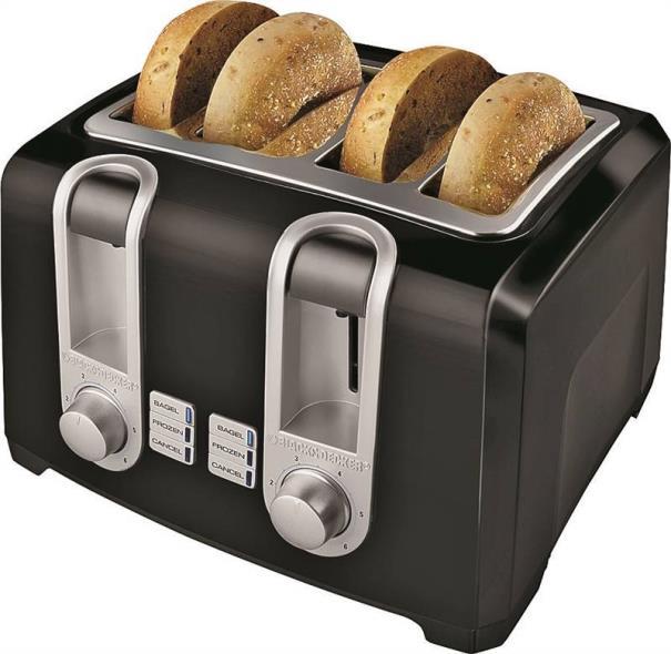 Black Decker 4 Slice Toaster 4 Slot Black