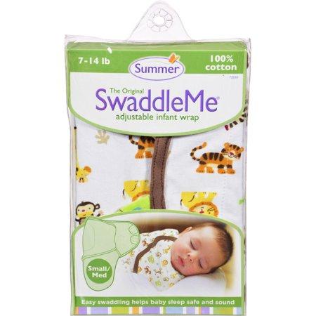 Summer Infant SwaddleMe Adj Infant Wrap Small-Medium 7 14 Lbs Jungle White