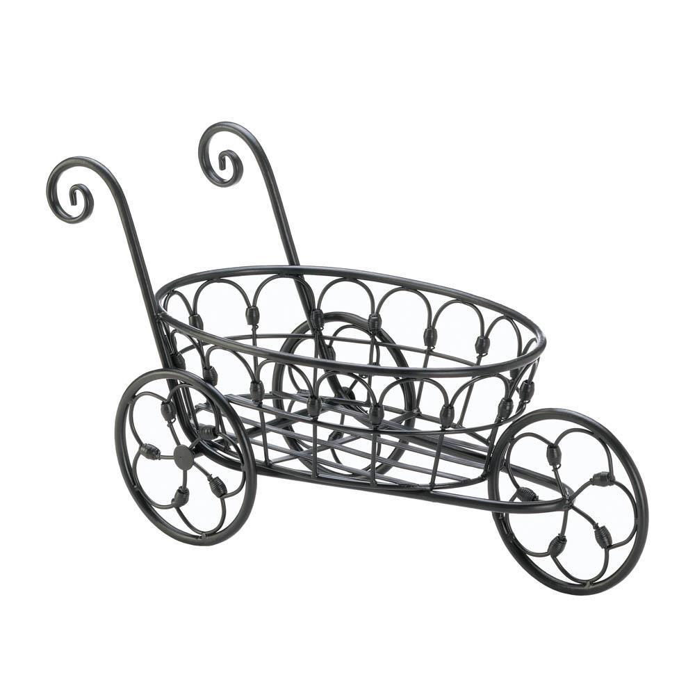 Black Iron Flower Cart