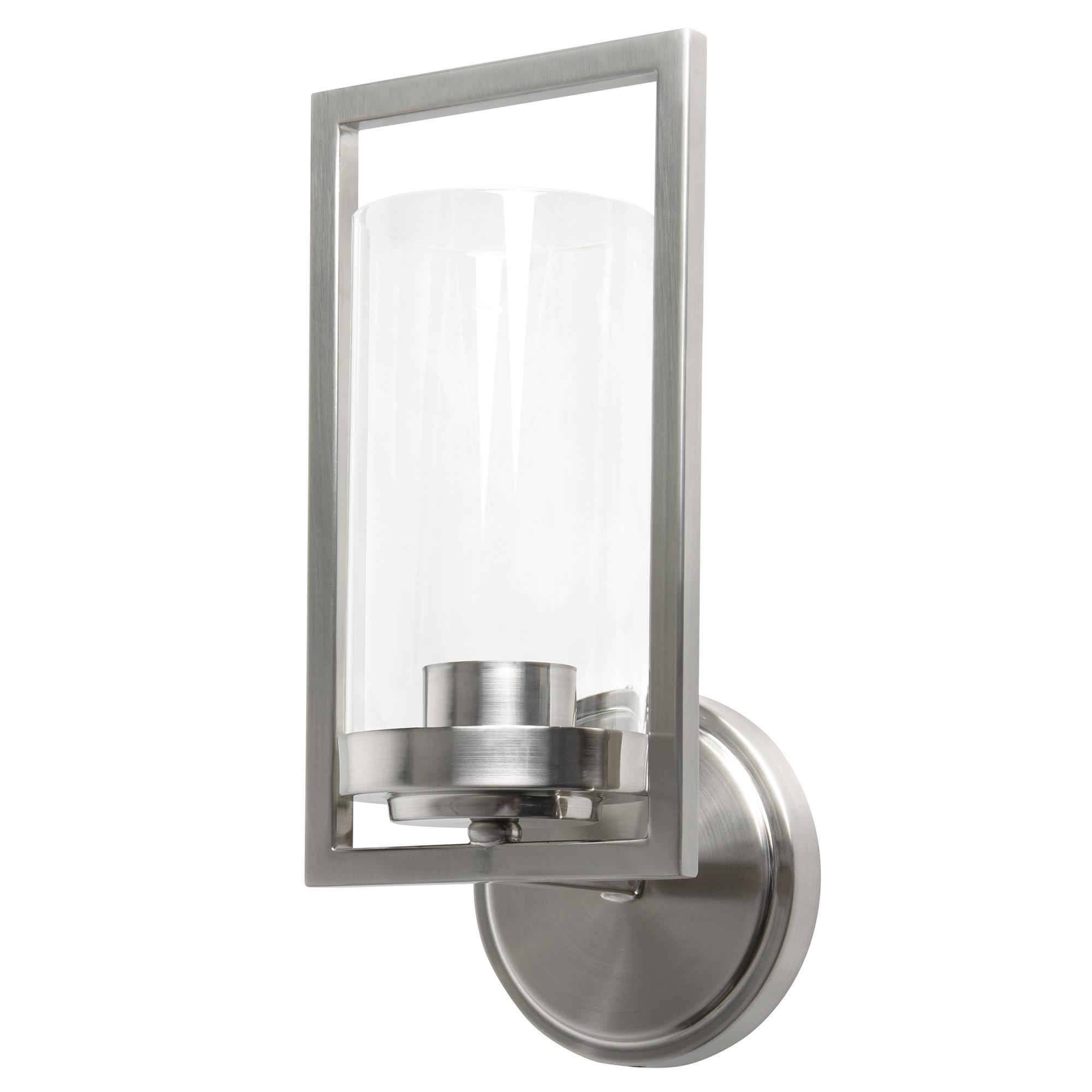Sunset Lighting Prestige One Light Wall Sconce - in Bright Satin Nickel, Glass, 1 Bulb