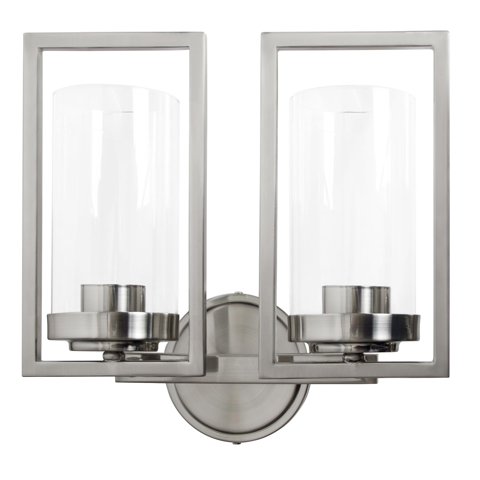 Sunset Lighting Prestige Two Light Wall Sconce - in Bright Satin Nickel, Glass, 2 Bulbs