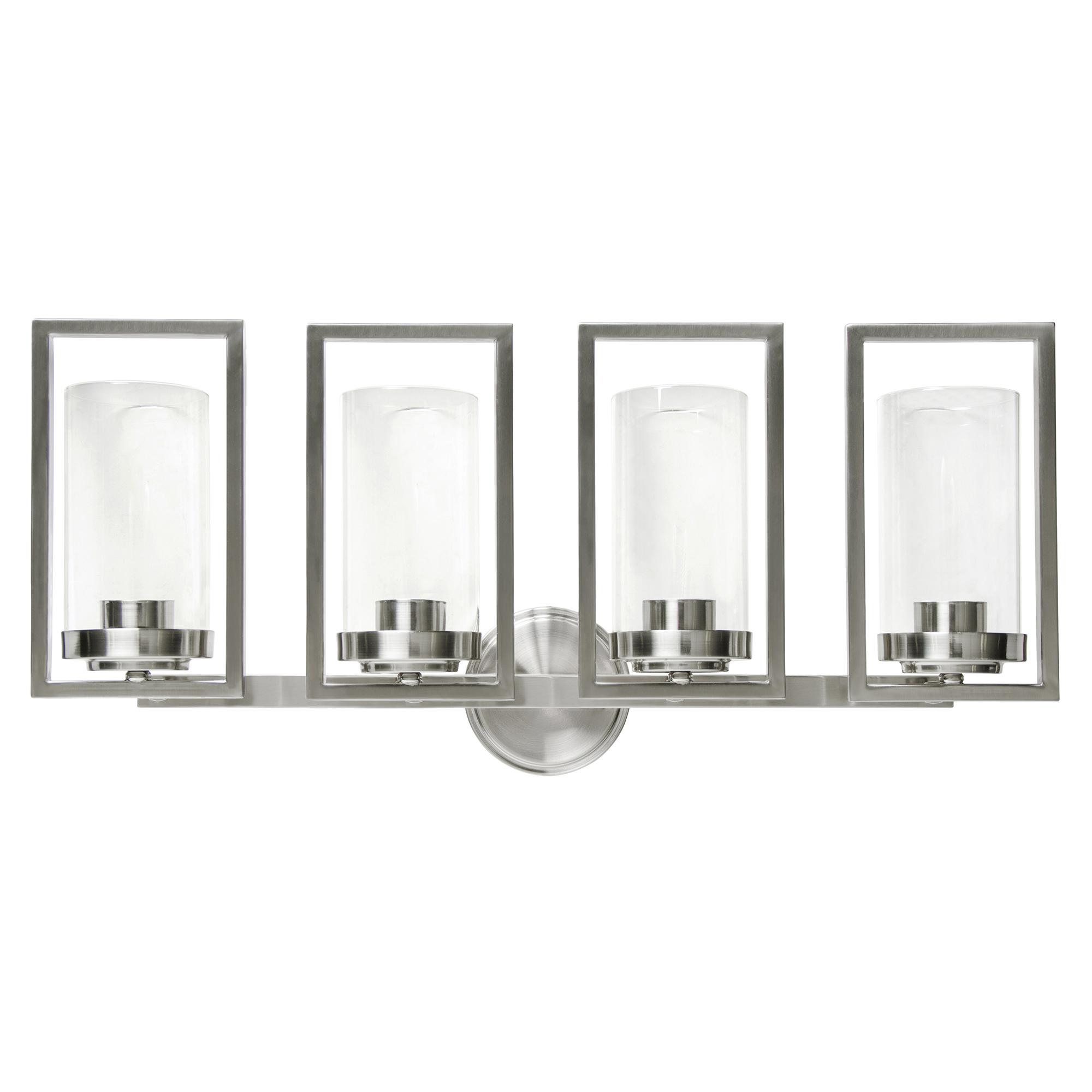 Sunset Lighting Prestige Four Light Wall Sconce - in Bright Satin Nickel, Glass, 4 Bulbs