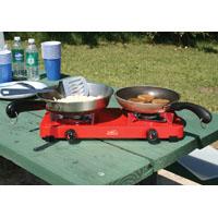 Texsport 14205 Dual Burner Stove, 5000 BTU, 2.5 hr, Propane, Heavy Gauge Steel, Blue/Silver, Baked Enamel