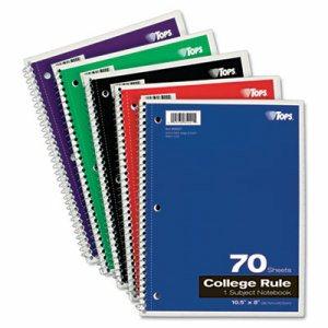 Coil Lock Wirebound Notebooks, College/Medium, 10 1/2 x 8, White, 70 Sheets