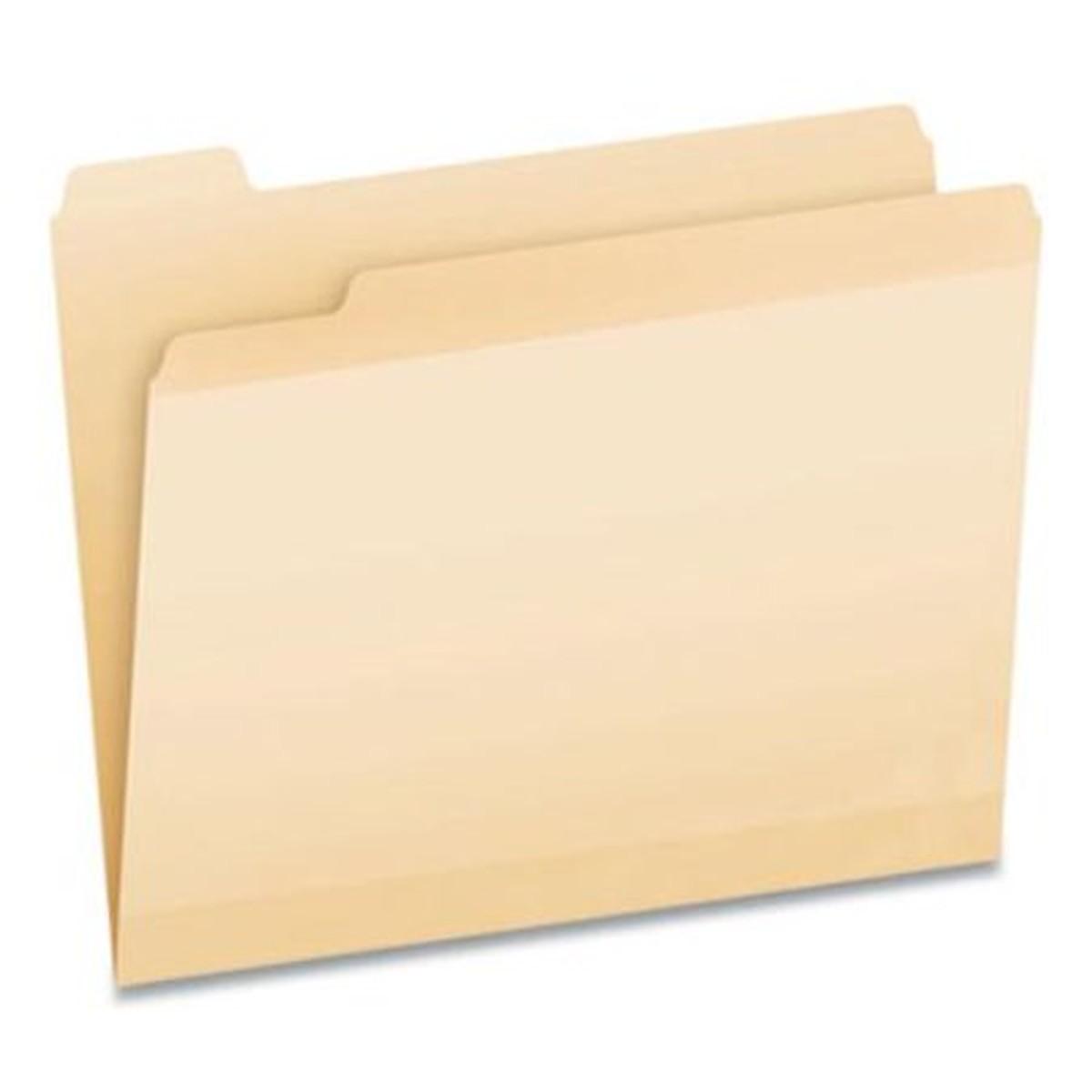 Poly Reinforced File Folder, 1/2-Cut Tabs, Letter Size, Manila, 24/Pack