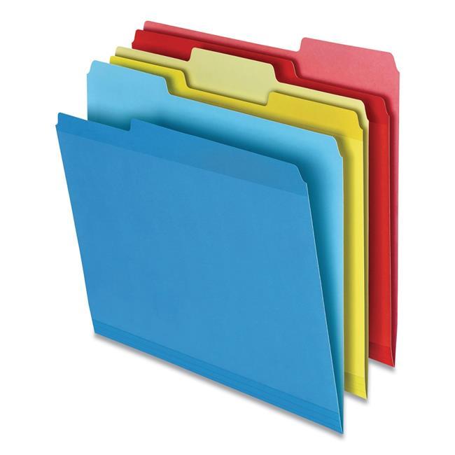 Poly Reinforced File Folder, 1/3-Cut Tabs, Letter Size, Assorted, 100/Pack
