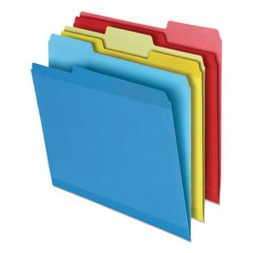 Poly Reinforced File Folder, 1/3-Cut Tabs, Letter Size, Assorted, 24/Pack