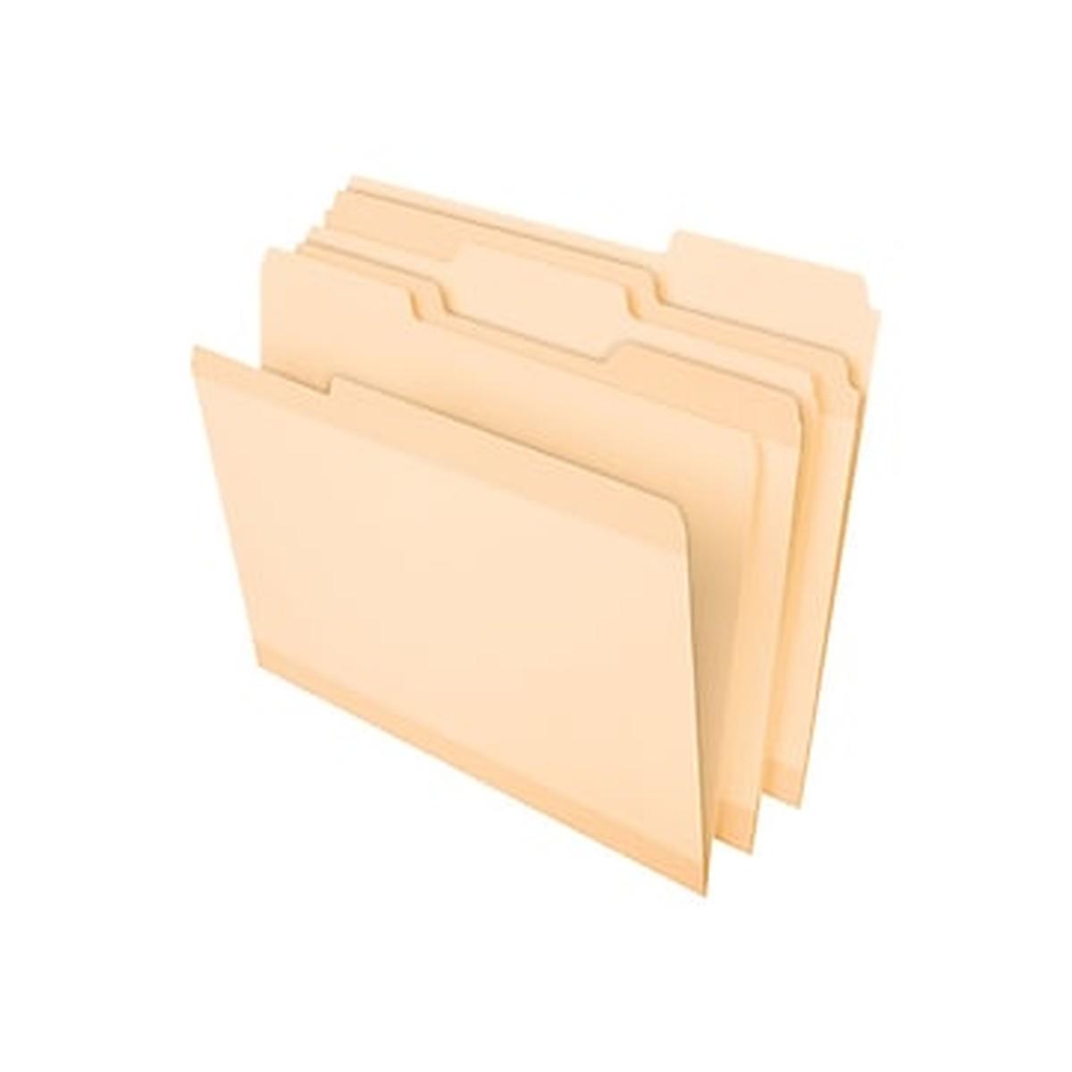 Poly Reinforced File Folder, 1/3-Cut Tabs, Letter Size, Manila, 24/Pack