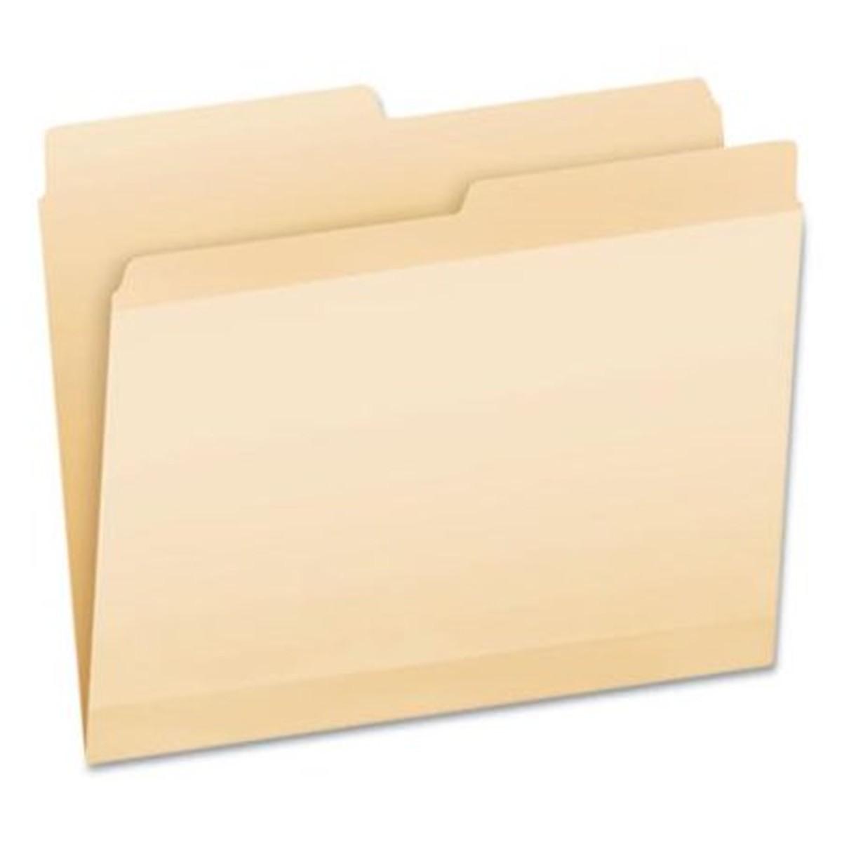 Poly Reinforced File Folder, 1/5-Cut Tabs, Letter Size, Manila, 24/Pack