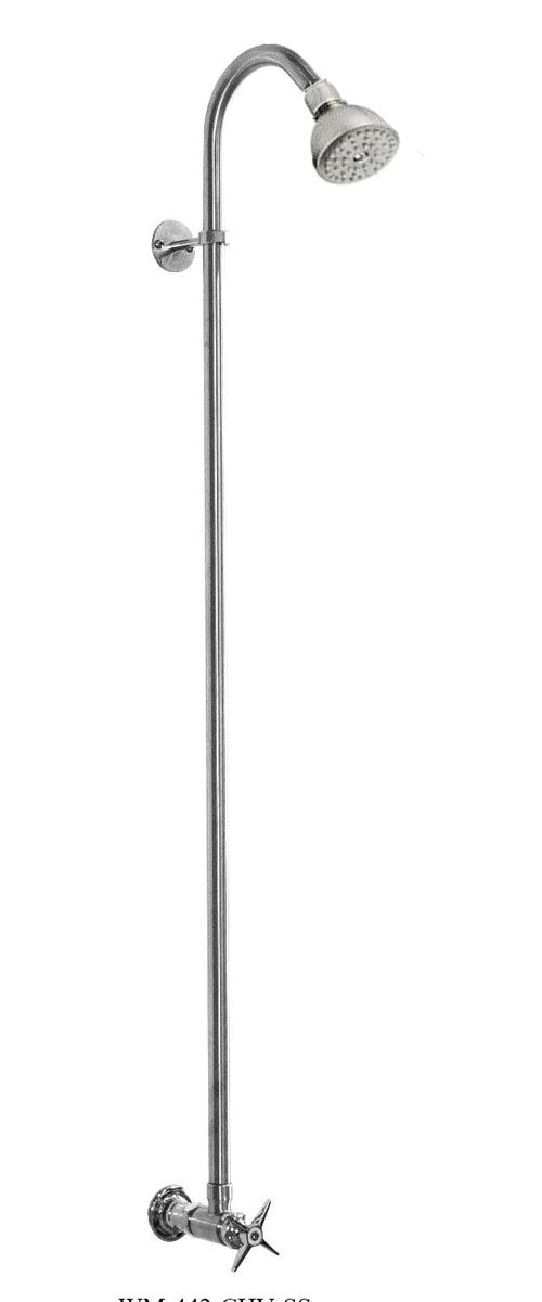 WM-442-CHV-SS Wall Mount Single Supply ShowerShower Head with Cross Valve