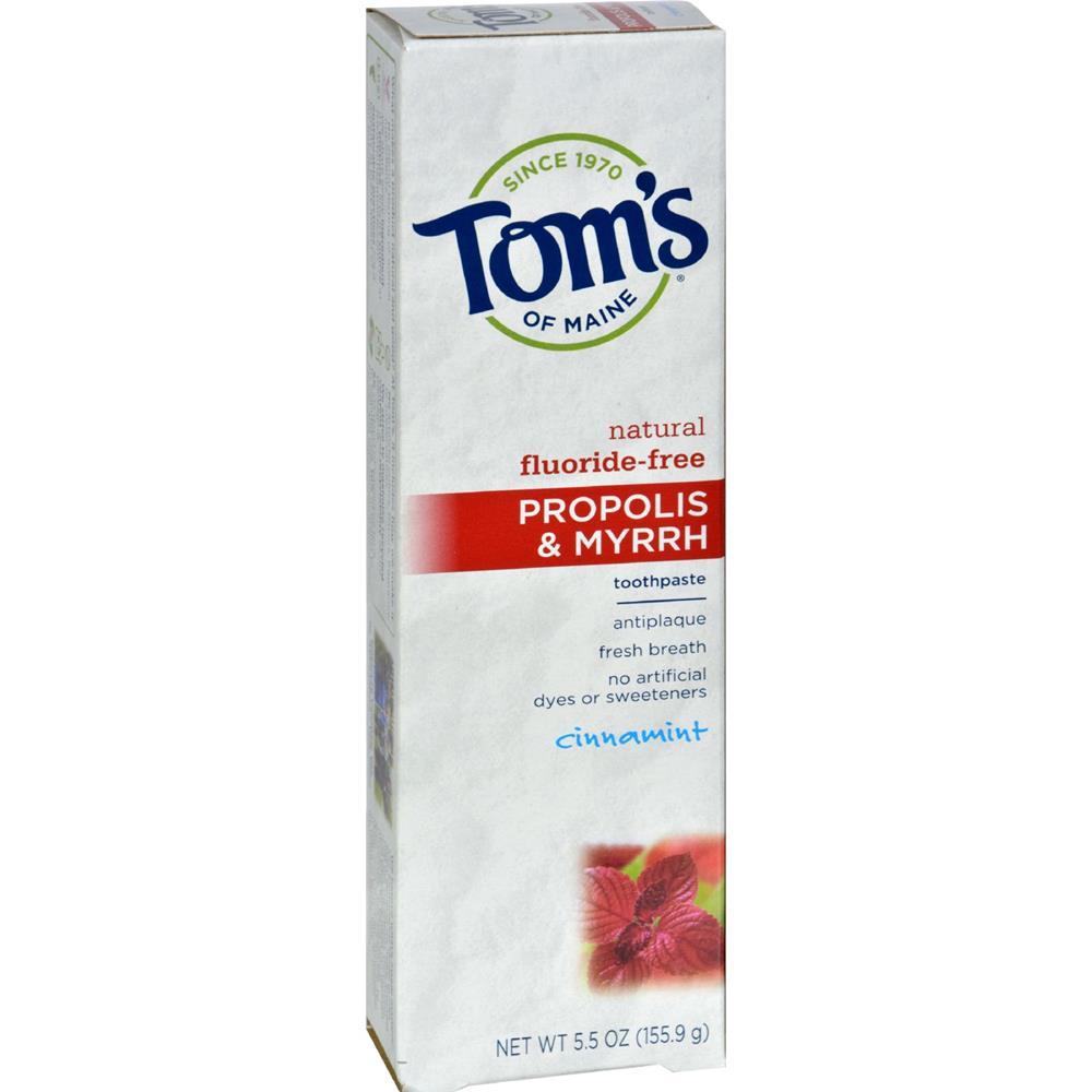 Toms Of Maine Cinnamon Fluoride Free with Propolis & Myrrh Toothpaste (6x55 Oz)