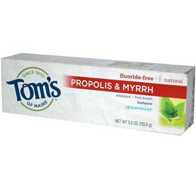 Toms Of Maine Spearmint Fluoride Free with Propolis & Myrrh Toothpaste (6x55 Oz)