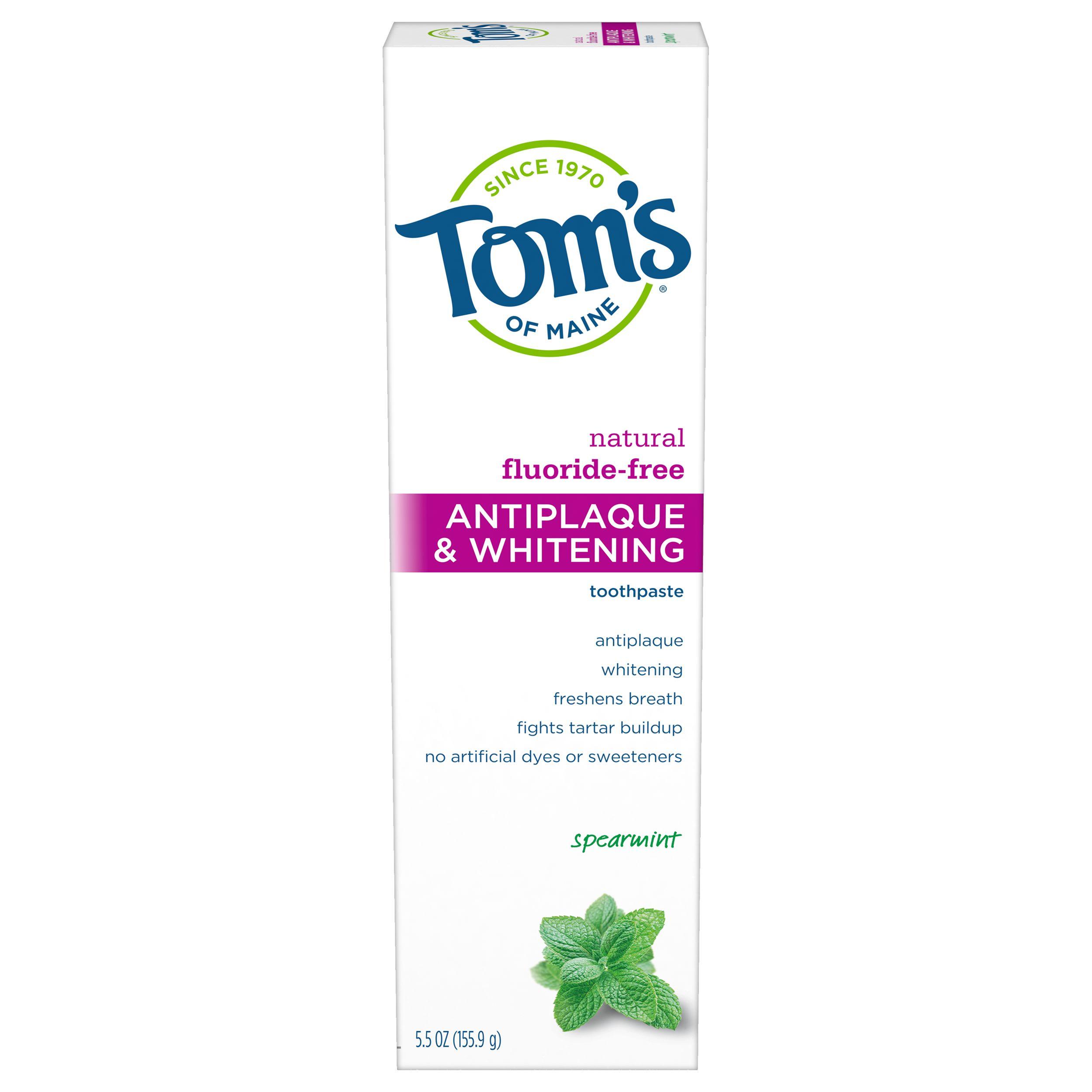 Toms Of Maine Tartar Control+Whitening Spearmint Fluoride Free Toothpaste (6x55 Oz)